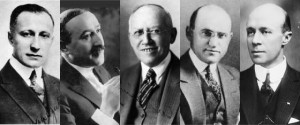 Adolph Zuckor (Paramount), Carl Laemmle (Universal), William Fox (Twenty Century Fox), Samuel Goldwyn (MGM), William Wadsworth Hodkinson (Paramount), Pioneros de Hollywood, Universal, Twenty Century Fox, Paramount, Metro Goldwyn Mayer.